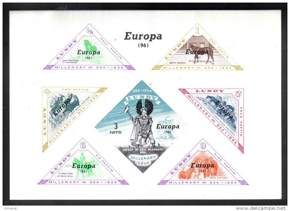 SS6340 - LUNDY 1961 , Il Foglietto Con Soprastampa Per L' Europa *** MNH - Local Issues