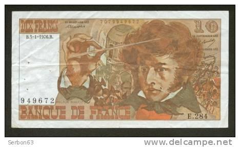 10 FRANCS BERLIOZ BILLET FRANCAIS E.284 N° 949672 TTB PETIT PRIX IDEAL DEBUTANT CRAQUANT D'ORIGINE 7 TROUS ! 5-1-1976 - 1962-1997 ''Francs''