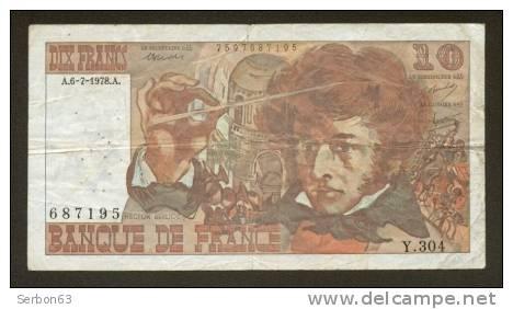 10 FRANCS BERLIOZ BILLET FRANCAIS Y.304 N° 687195 TTB PETIT PRIX IDEAL DEBUTANT CRAQUANT D'ORIGINE 18 TROUS ! 6-7-1978 - 1962-1997 ''Francs''