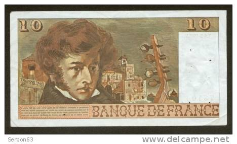 10 FRANCS BERLIOZ BILLET FRANCAIS S.172 N° 73104 SUP IDEAL DEBUTANT CRAQUANT D'ORIGINE 12 TROUS ! 6-3-1975 - 1962-1997 ''Francs''