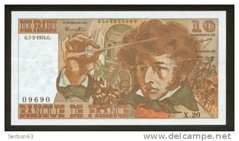 10 FRANCS BERLIOZ BILLET FRANCAIS X.20 N° 09690 SPL IDEAL DEBUTANT CRAQUANT D'ORIGINE 5 TROUS ! 7-2-1974 - 10 F 1972-1978 ''Berlioz''
