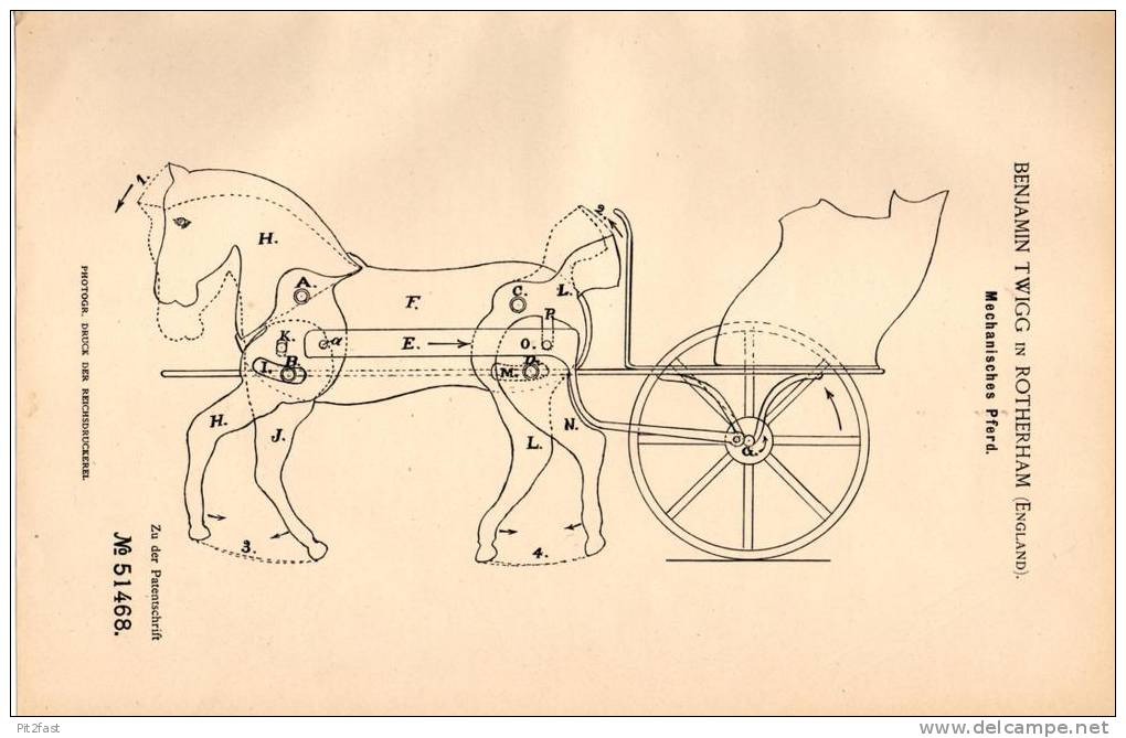 Original Patentschrift - B. Twigg In Rotherham , England , 1889 , Mechanisches Pferd , Karussell , Horse !!! - Toy Memorabilia