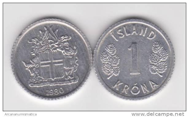 Islandia 1 Corona 1.980 Aluminio KM#23 SC/UNC     T-DL-10.328 - Islandia