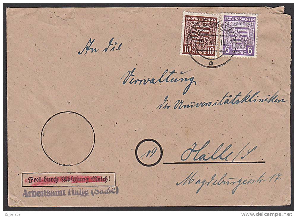 OPD Prov. Sachsen Mi. 78X 10 Pf.  Ortsdoppel-Brief Portogenau Aus HALLE Dienstpostbrief Aptiertem Hoheitszeichen - Zone Soviétique