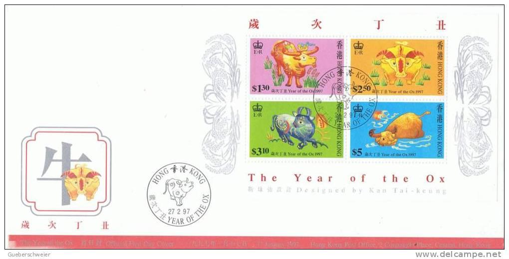 L-HG8 - HONG KONG FDC Bloc Année Du Boeuf 1997 - Hong Kong (...-1997)