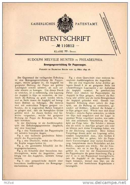 Original Patentschrift - Doll , Dolly , Puppet , 1899 , R. Hunter In Philadelphia , Apparat Für Puppenaugen , Puppe  !!! - Dolls