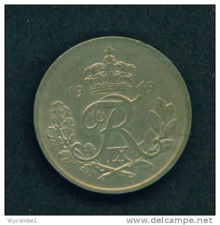 DENMARK  -  1949  25 Ore  Circulated As Scan - Denmark