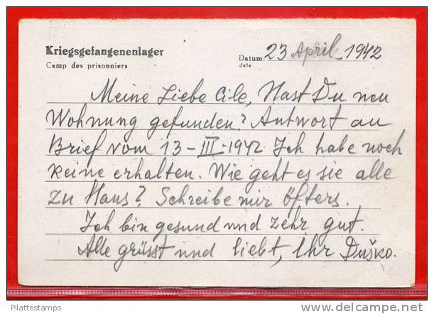 ALLEMAGNE CARTE CAMP DE PRISONNIER OFLAG VI DU 27/04/1942 POUR LA SERBIE - Briefe U. Dokumente