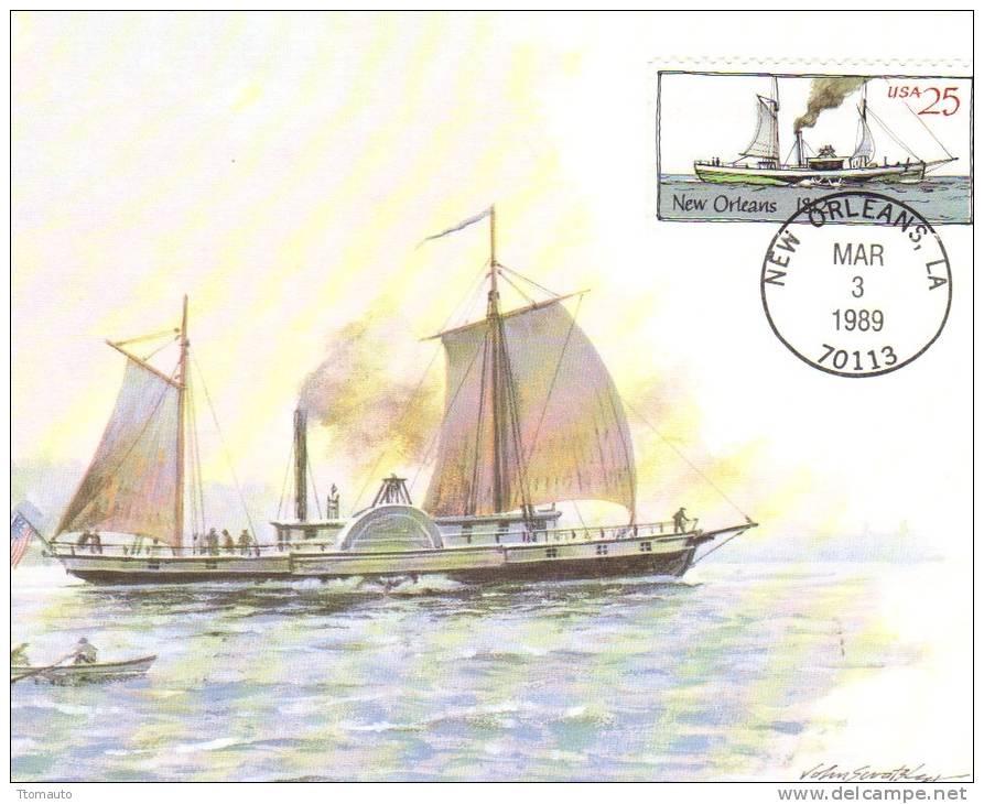 US Maxi Card -  Steamboat 'New Orleans'   -  Artwork By John Swatsley - Paquebots