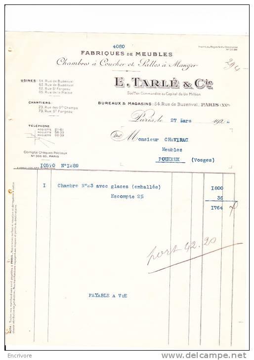 E TARLE Et Cie Fabrique De Meubles Paris - France
