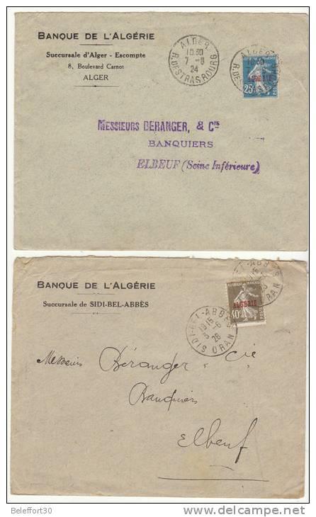 Lot 4 Lettres Semeuse Surchargées ALGERIE 1926/27 (2 Scans) - Algeria (1924-1962)