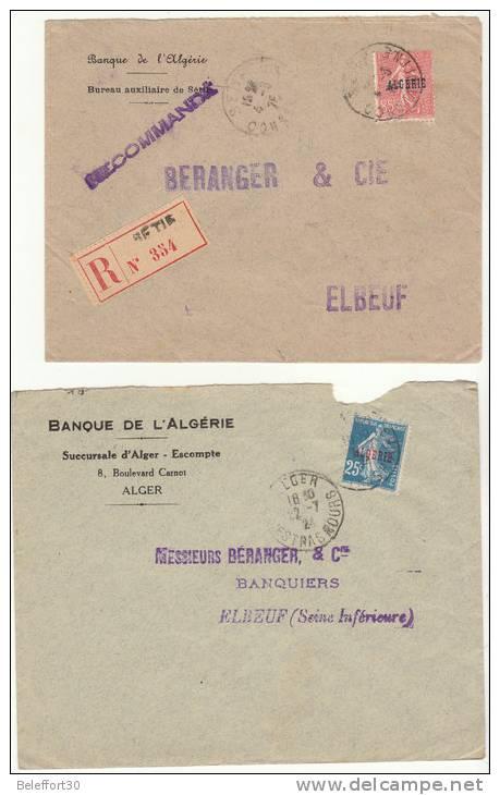 Lot 4 Lettres Semeuse Surchargée ALGERIE  (2 Scans) - Algeria (1924-1962)