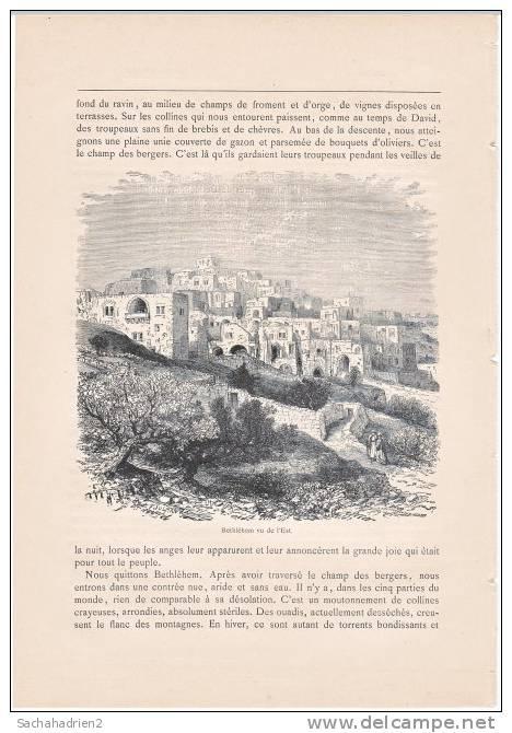 PALESTINE. Bethléhem Vu De L'Est. 1892 - Vieux Papiers