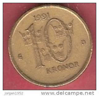 SWEDEN  #10 KRONER FROM YEAR 1991 - Suède
