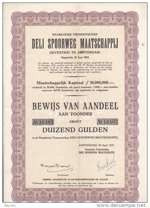 NEDERLAND  --  DELI  SPOORWEG - MATSCHAPPIJ  -  RAILWAY COMPANY - Hist. Wertpapiere - Nonvaleurs