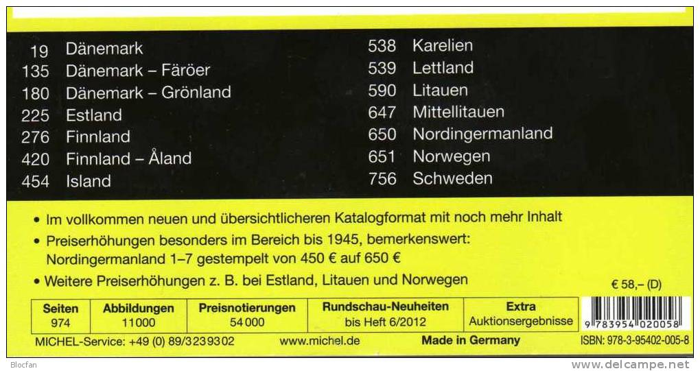 Deutschland+ Nord-Europa 2012/2013 Stamp Katalog Neu 102€ Germany And Part 5 MlCHEL With D DK S Norge SF Esti LA Litauen - Sonstige