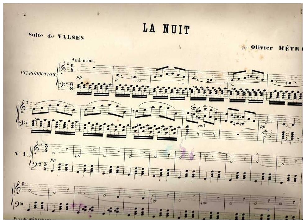 Partition Très Ancienne: La Nuit, Suite De Valses Par Olivier Métra. - Partitions Musicales Anciennes