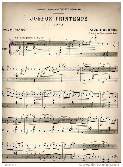 Partition Très Ancienne: Joyeux Printemps, Caprice, Pour Piano, Par Paul Rougnon. - Partitions Musicales Anciennes