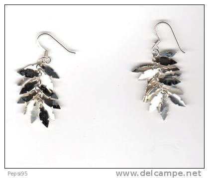 BOUCLES D´OREILLES En ARGENT Feuilles (925) - Earrings