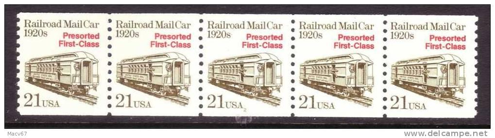 U.S. 2265X5    PLATE 2  **  RAILROAD MAIL CAR - Coils (Plate Numbers)