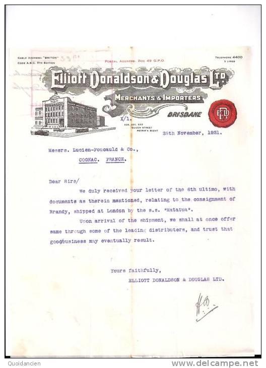 Entête 25/11/1921  -  BRISBANE  ( Australie )  Vers COGNAC   -  Elliot  DONALDSON  &  DOUGLAS - Australie