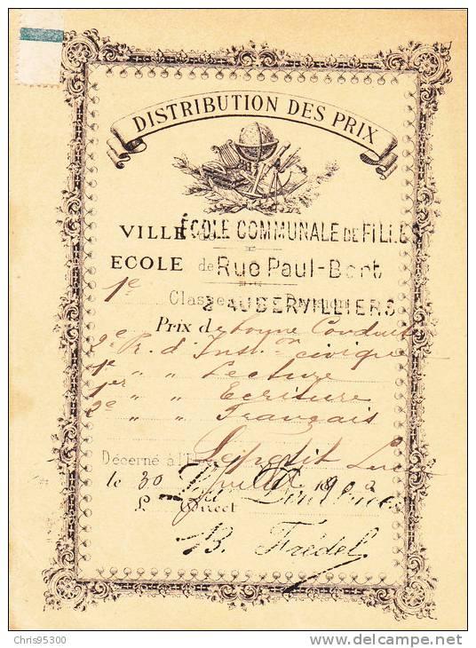 DISTRIBUTION DES PRIX - ECOLE - AUBERVILLIERS - 1890 - Old Paper