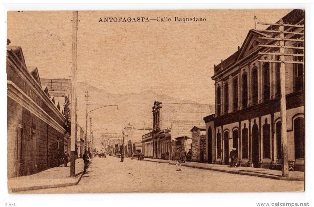 AMERICA CHILE ANTOFAGASTA BAQUEDANO STREET OLD POSTCARD 1941. - Chile