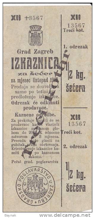 CROATIA  - GRAD ZAGREB  -- TRECI KOTAR  -   IZKAZNICA ZA SECER  -  1917  -  WW1  -  1/2 Kg SUGAR - Kroatien