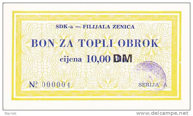 BOSNIEN  -  SDK - A   ZENICA  --  BON ZA TOPLI OBROK  --  10,00 DM - Bosnien-Herzegowina