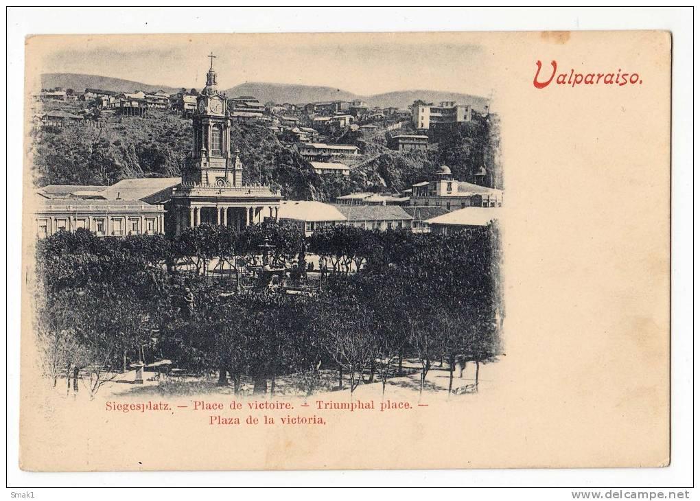 AMERICA CHILE VALPARAISO VICTORY SQUARE OLD POSTCARD - Chile