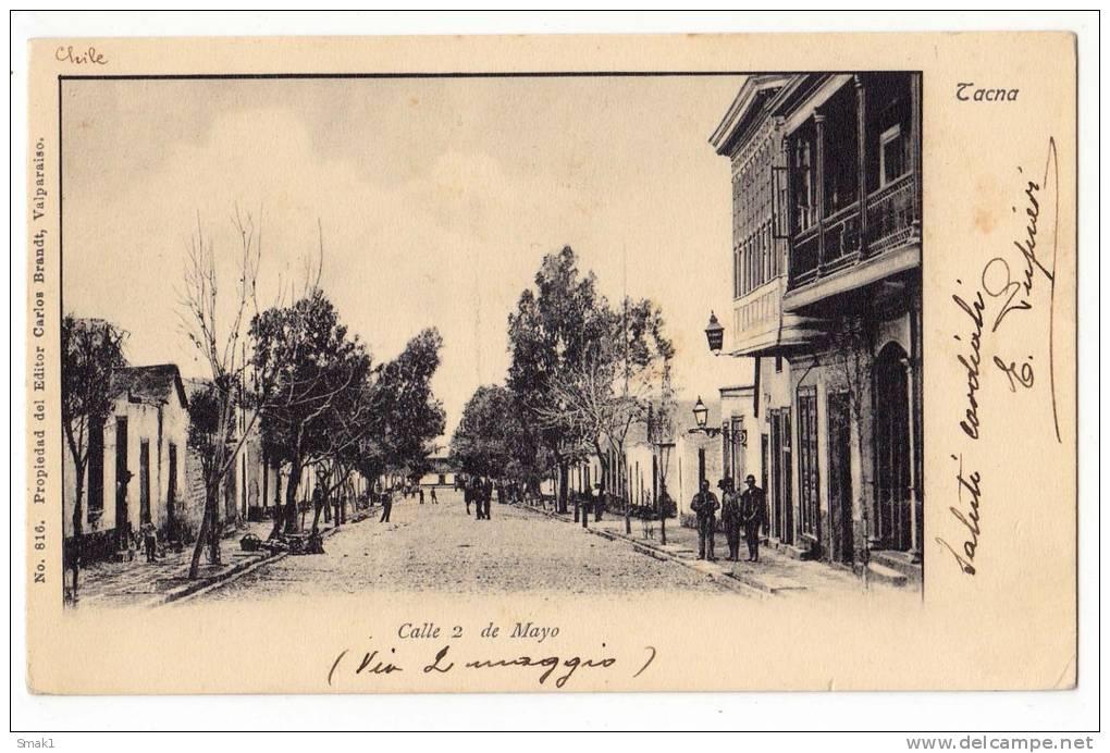 AMERICA CHILE TACNA MAYO STREET EDIT CARLOS BRANDT Nr. 816 OLD POSTCARD - Chile
