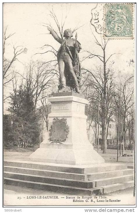 CARTE POSTALE PHOTO ORIGINALE ANCIENNE : LONS LE SAUNIER ; STATUE DE ROUGET DE L´ISLE ; JURA (39) - Lons Le Saunier