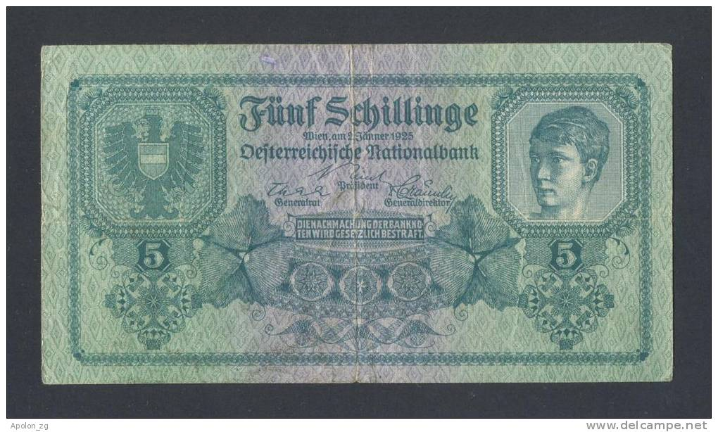 AUSTRIA * ÖSTERREICH , 5 Schilling  2/1/1925 VF (P88) * RARE BANKNOTE ! - Oostenrijk