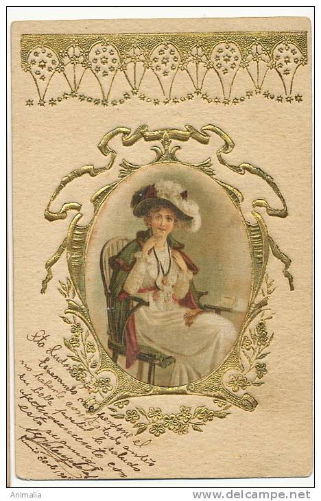 Silk Painted Card,  Peinte  Soie Gaufrée Embossed Gold   Jolie Femme Art Nouveau - Cartes Postales
