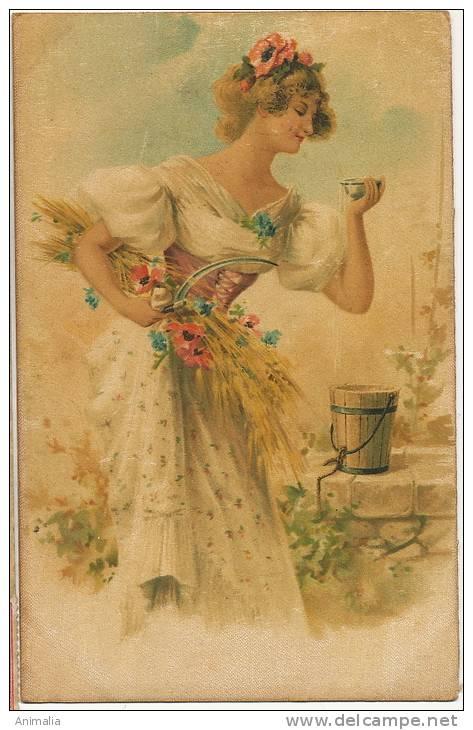 Silk Painted Card,  Peinte  Soie Toute La Surface, Belle Femme Au Puits - Autres