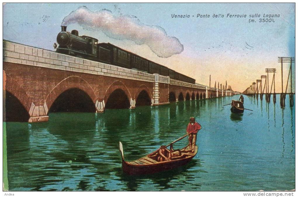 CPA.....VENEZIA...PONTE DELLA FERROVIA SULLA LAGUNA..( M 3500 )......PRIX:   2,49 € - Venezia (Venice)