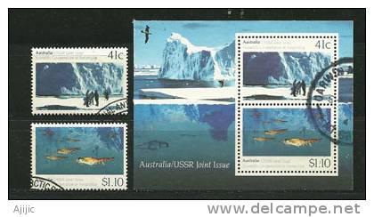 Icebergs.Cooperation Scientifique En Antarctique. Emission Commune Australie-Russie. Yv. 1173/4 + BF 14. Oblitérés - Geology