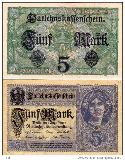 5 Marks - Vert Et Violet    (50184) - [ 2] 1871-1918 : Empire Allemand