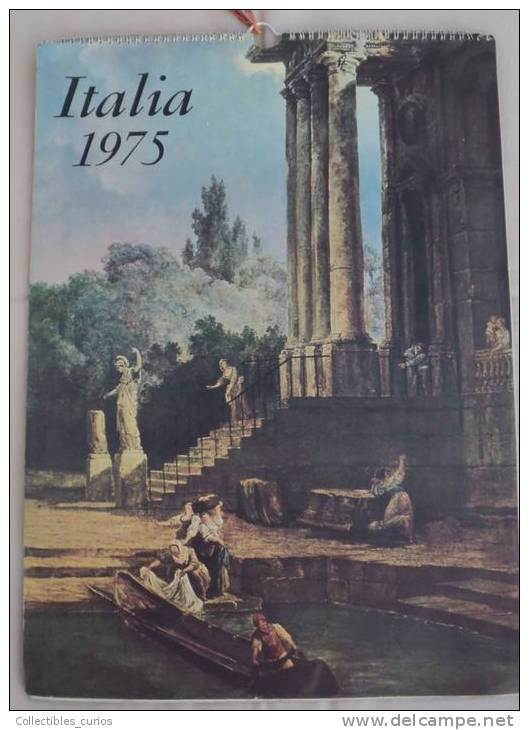 VINTAGE STUNNING RARE ART CALENDER ITALIA 1975 PRINTED BY Istituto Poligrafico Dello Stato - Roma - Big : 1971-80
