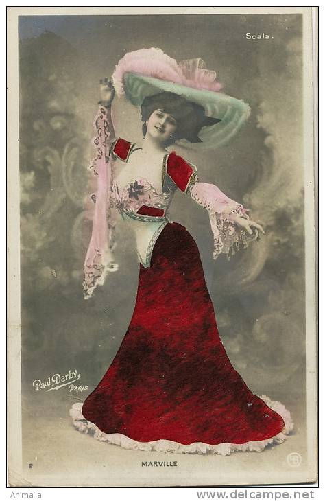 Carte Systeme Decoupis Robe Velours Actrice Marville De La Scala Photo Paul Darby Epaisse - Cartes Postales