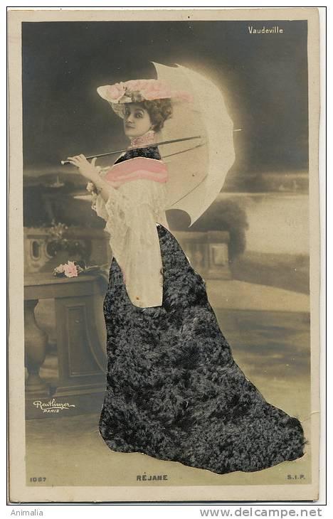 Carte Systeme Decoupis Robe Velours Actrice Rejane Vaudeville  Photo  Reutlinger Epaisse - Cartes Postales