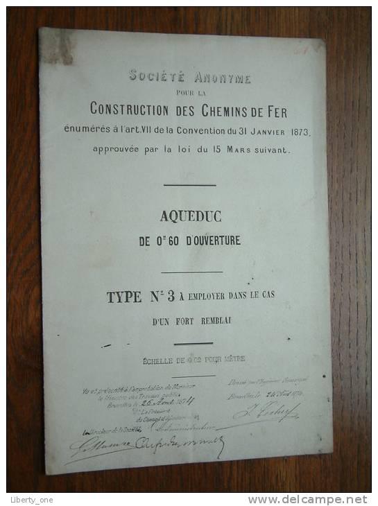 AQUEDUC De Om 60 D´OUVERTURE TYPE N° 3 à Employer Dans Le Cas ....... / CONSTRUCTION DES CHEMINS DE FER ( Voir Photo ) ! - Travaux Publics