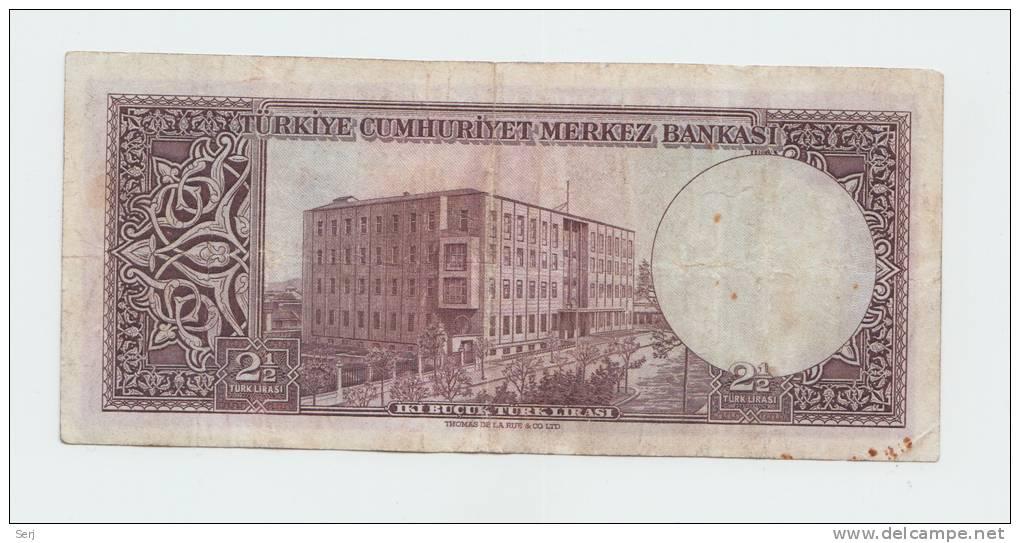 TURKEY  2 1/2 LIRA  1930 (1955) VF P 151 - Turchia