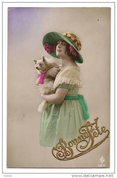 Bonne Fête - Portrait Jeune Femme à La Capeline & Chien Loulou Pomeranie - Carte Colorisée & Lettres Découpis - Ecrite - Chiens