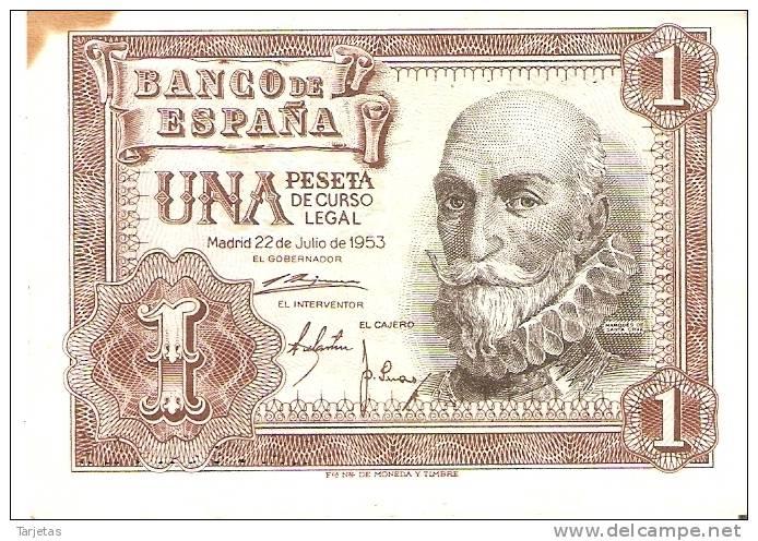 BILLETE DE 1 PTA DEL 22/07/1953 SERIE 1A CALIDAD BC  (BANKNOTE) - 1-2 Pesetas