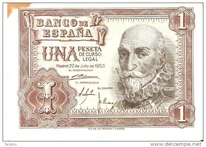 BILLETE DE 1 PTA DEL 22/07/1953 SERIE 1A CALIDAD BC  (BANKNOTE) - [ 3] 1936-1975 : Régence De Franco