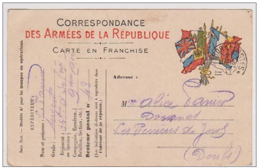 Carte  Postale En  Franchise Militaire- Cachet Trésor Et Postes - Militaire Kaarten Met Vrijstelling Van Portkosten