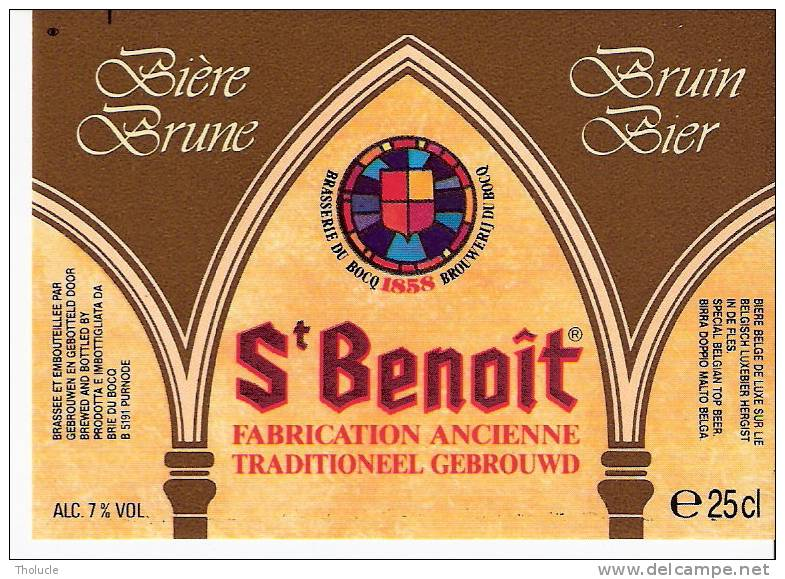 Etiquette Ancienne De La Brasserie Du Bocq à Purnode (Yvoir S/Meuse)-Bière Saint Benoît Brune -Top Quality - Beer
