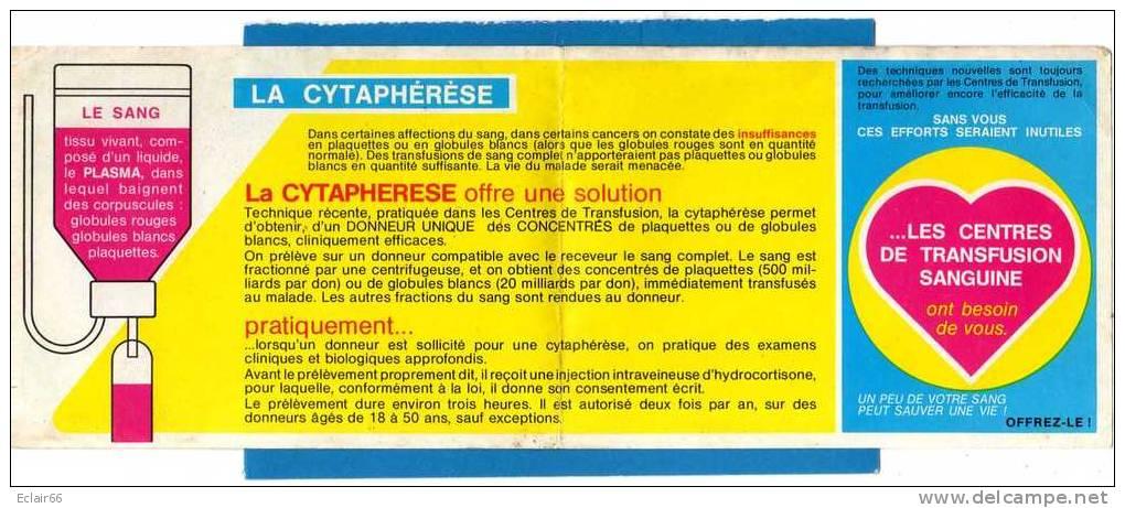 Calendrier Des Collectes Du DON Du SANG De EU 1983 Et DOCUMENT Sur La CYTAPHERESE;Voir Scanne - Calendriers
