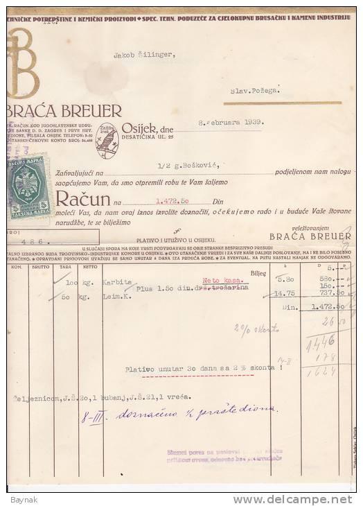 CROATIA   -   RECHNUNG   -  BRACA BREUER, OSIJEK  -  JEWISH STORE  --  WITH TAX STAMP - Facturas & Documentos Mercantiles